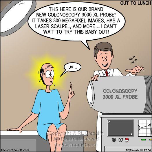 The Colonoscopy 3000 Xl Probe Otl Cartoon June 29 2016 Colonoscopy Humor Funny Cartoons Colonoscopy