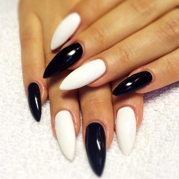 50 Best Black And White Nail Designs Stayglam White Acrylic Nails Black And White Nail Designs White Nail Designs