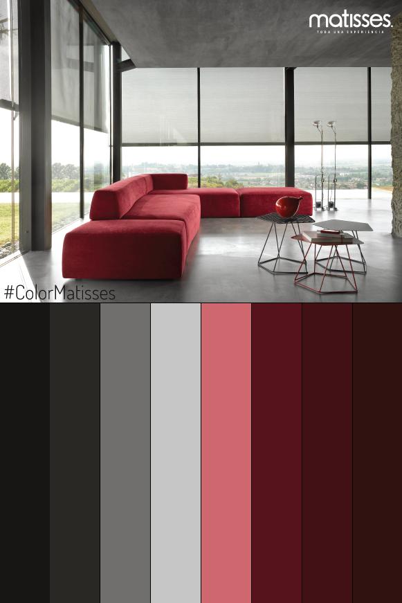 El Color Rojo Comunica Fuerza Y Confianza Este Tono Puede Acompañar Lugare Combinaciones De Colores Interiores Paletas De Colores Grises Colores De Interiores