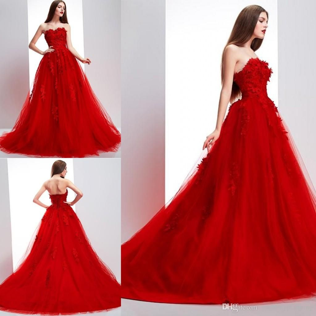 Cheap 2016 Elie Saab Vintage Red Wedding Dresses Online Sexy ...