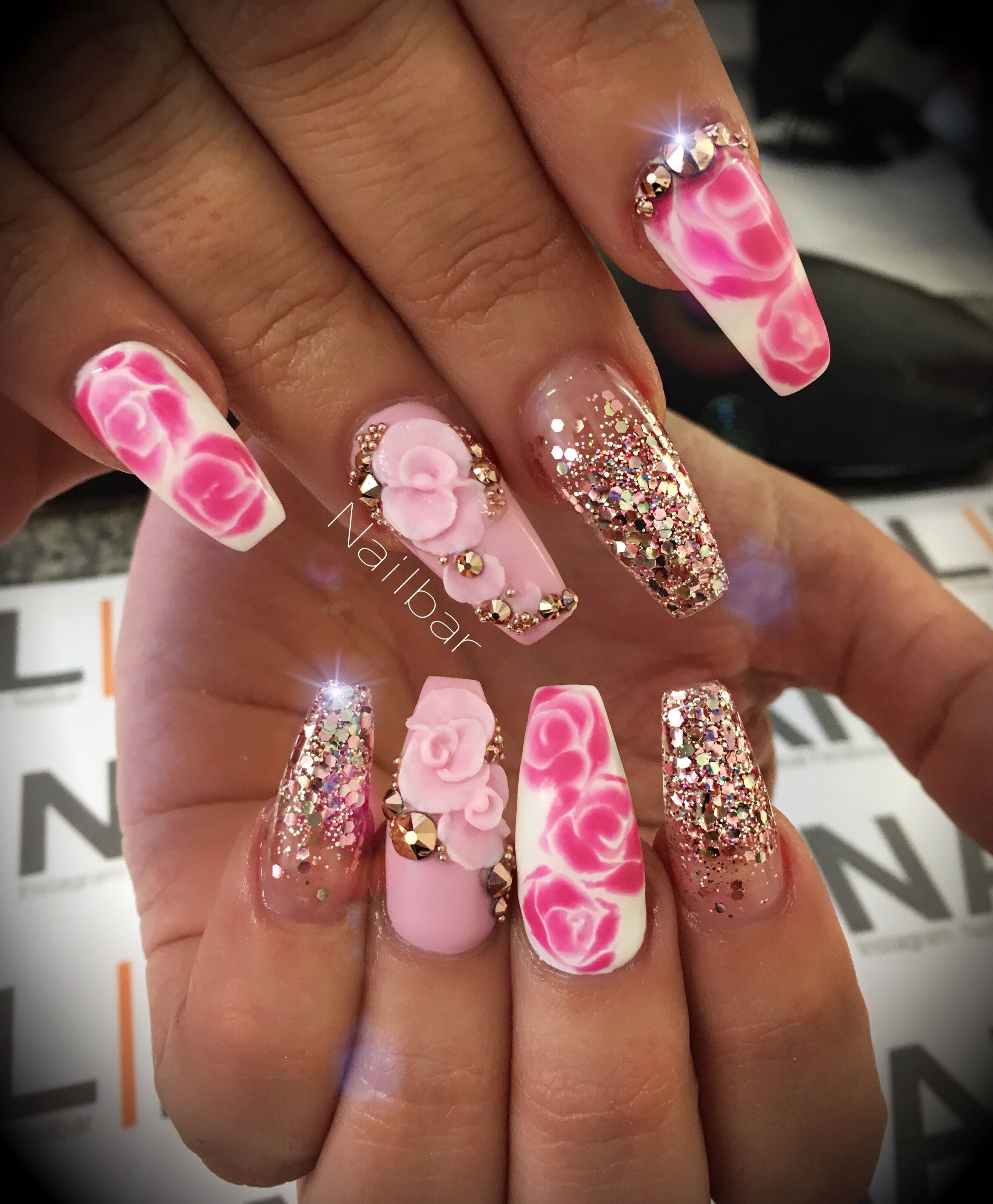 Coffin nail shape with glitter and 3d nail art  a402270b4a1b