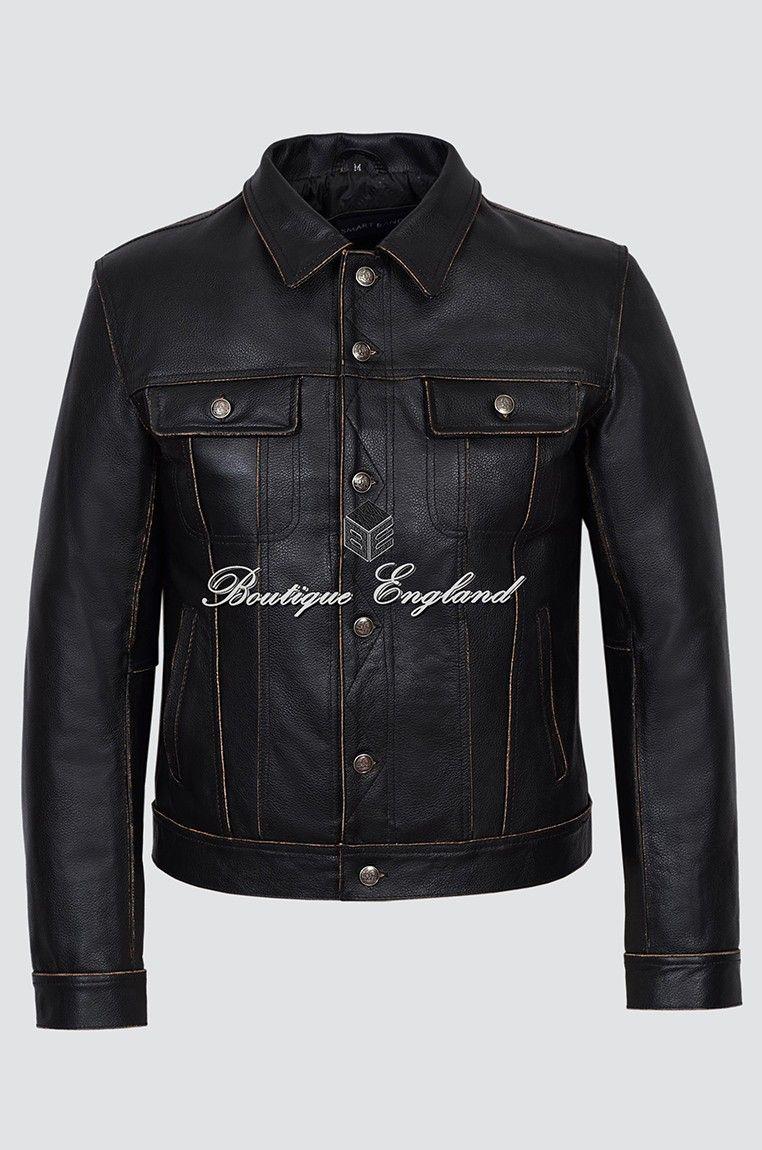 Men/'s TRUCKER Black Nappa Lambskin Real Leather Classic Western Cowboy Jacket