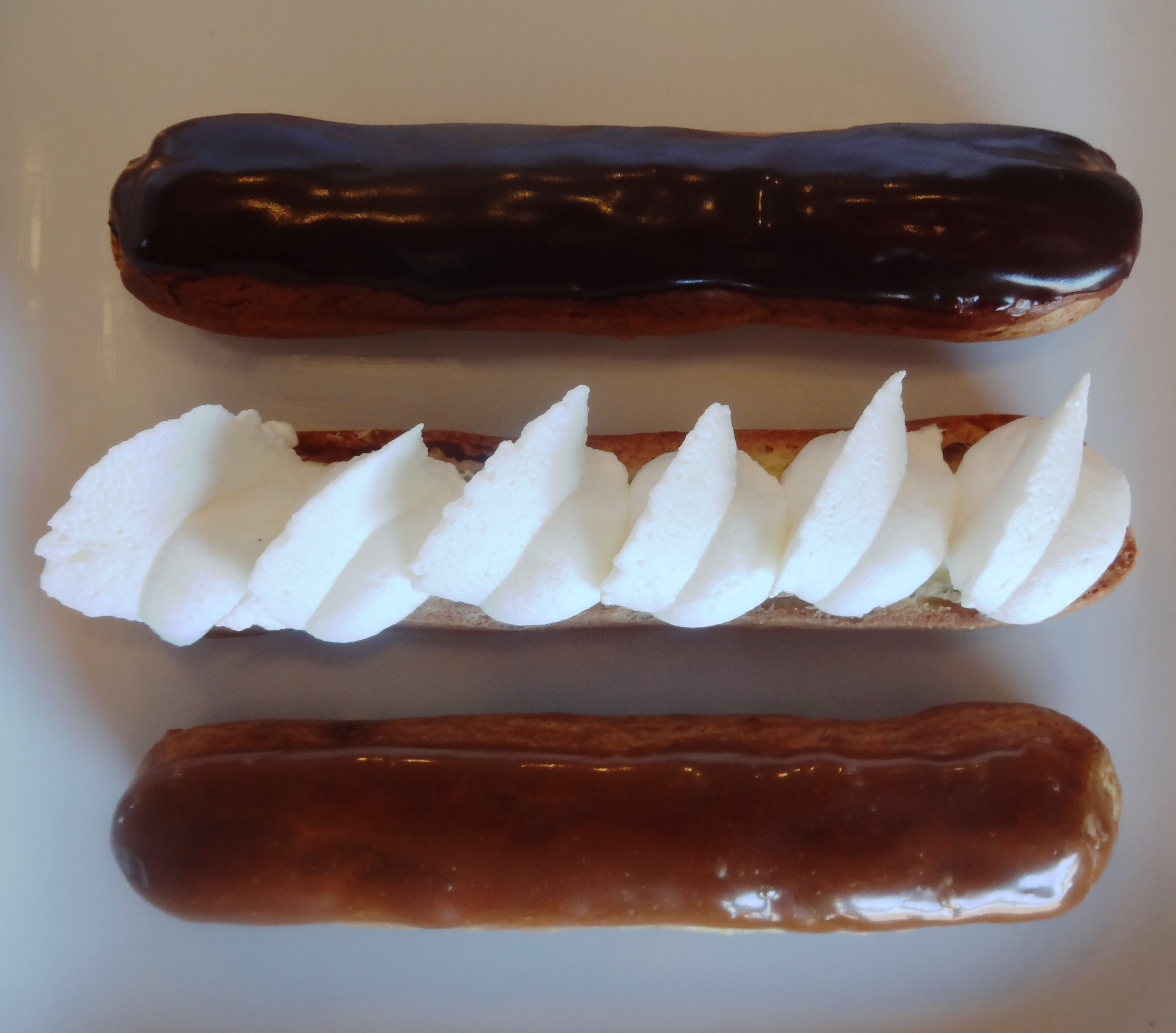 Chocolate vanilla cafe eclairs bisous bisous