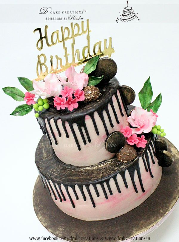 Dripping Chocolate Cake With Sugar Flowers 3d Birthday Cakes For