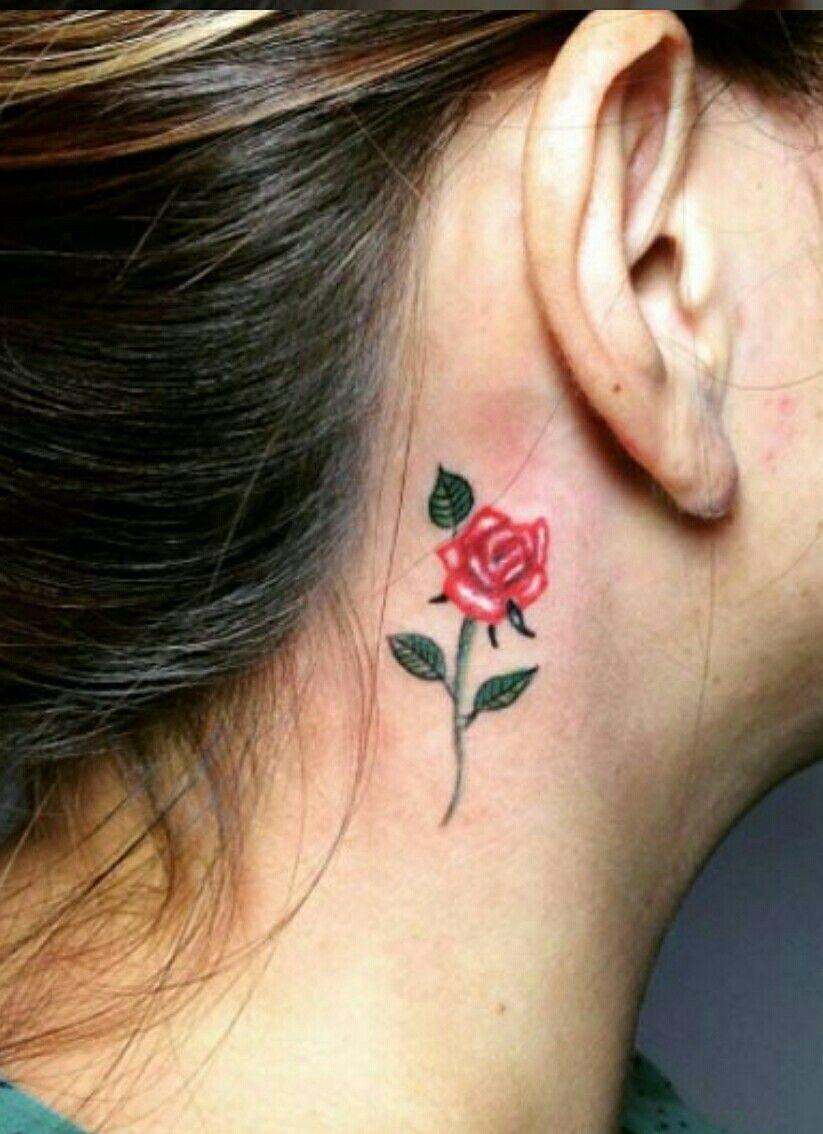 Behind Ear Tattoo Rose Rose Tattoo Behind Ear Behind Ear Tattoos Small Crown Tattoo