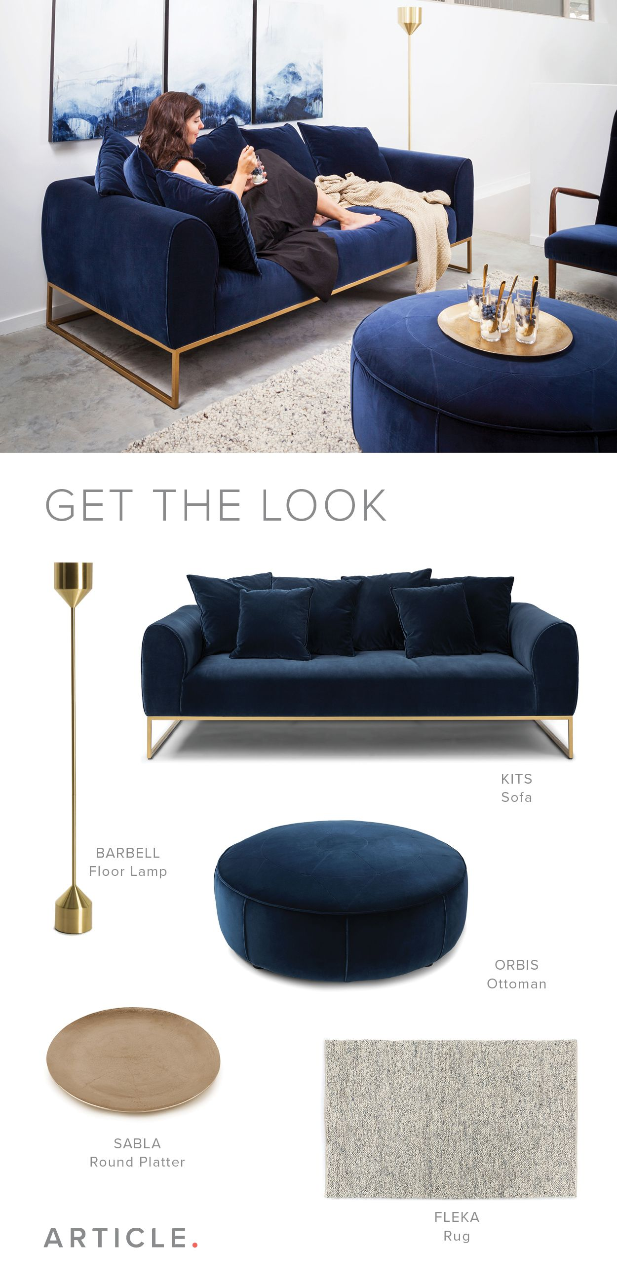 Create A Dreamy Space With Warm Blue Velvets And Gold Accents Blue Velvet Sofa Living Room Blue And Gold Living Room Blue Living Room Decor