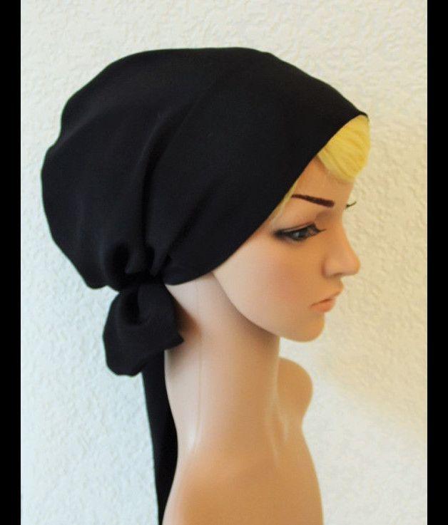 Schwarzes Haar Schal, Tichel, Kopf Snood   Haar schals, Schwarzes ...