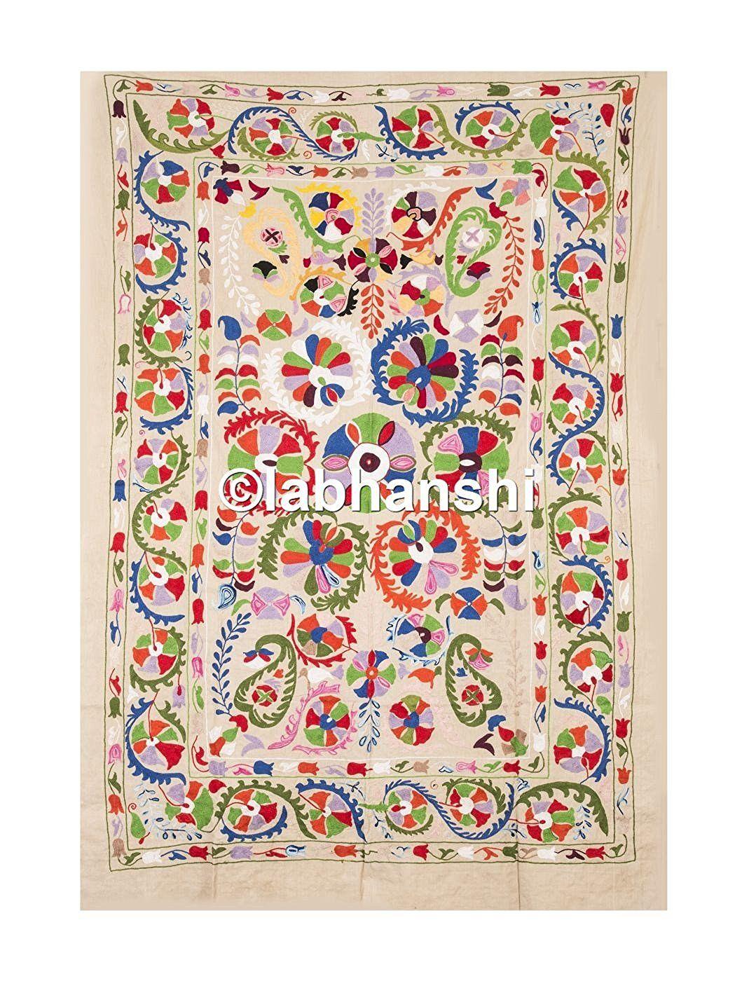 Joli Suzani brodé tapisserie antique Double Tissu Courtepointe