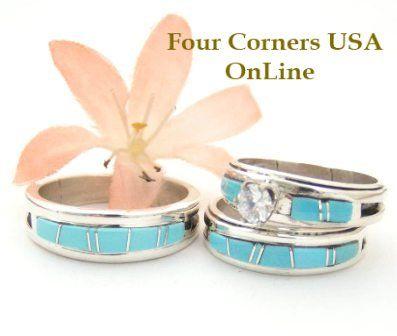 Turquoise Bridal Engagement Ring Sets