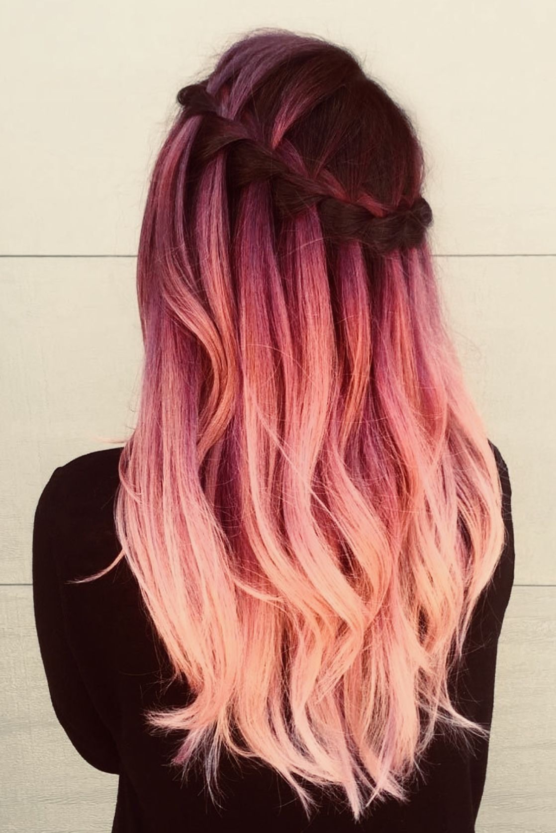Waterfall braid pink hair  Hair styles, Cute hair colors, Long
