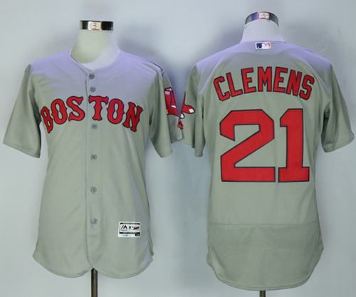 red sox 21 roger clemens grey flexbase authentic collection stitched mlb jersey