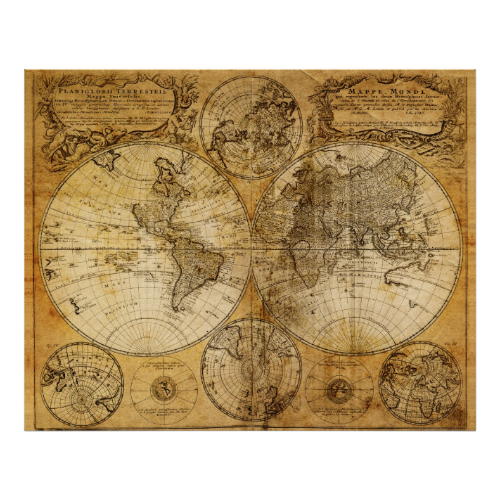 17th Century Old World Map Poster Print Zazzle Com Map Canvas Print Map Wall Art World Map Canvas