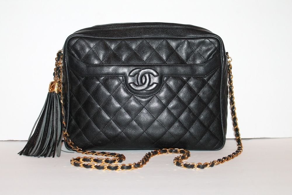 d2b51e7d5a6564 Chanel Vintage CAVIAR Leather Tassel Camera Bag Shoulder Cross Body Bag  Black #CHANEL #ShoulderBagCrossBody