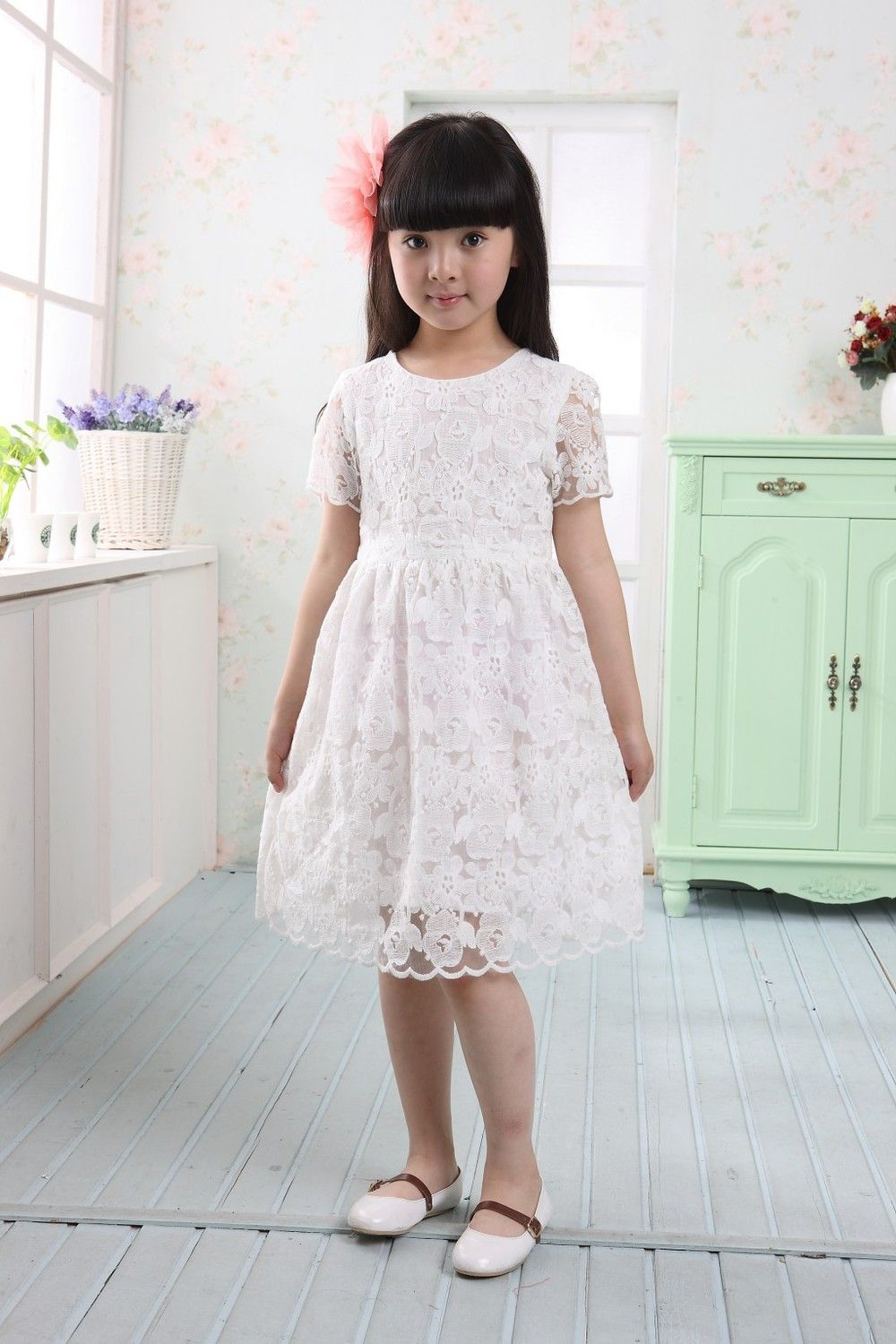 Kids Collection Soft Quality Lace Girl Dress-White-6 - Click image ...