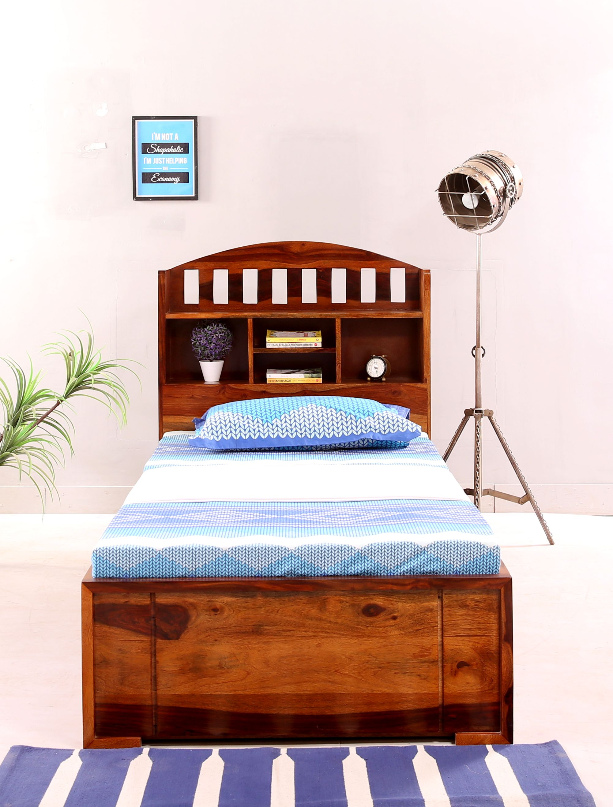 Buy Arista Single Bed With Storage Honey Finish Online In
