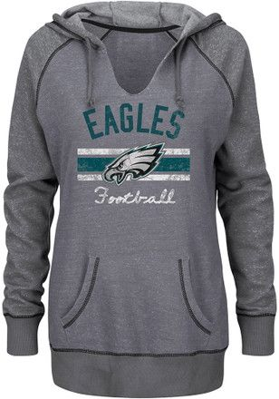 d2ea2791 Philadelphia Eagles Womens Grey Buttonhook Hoodie | NFL ...