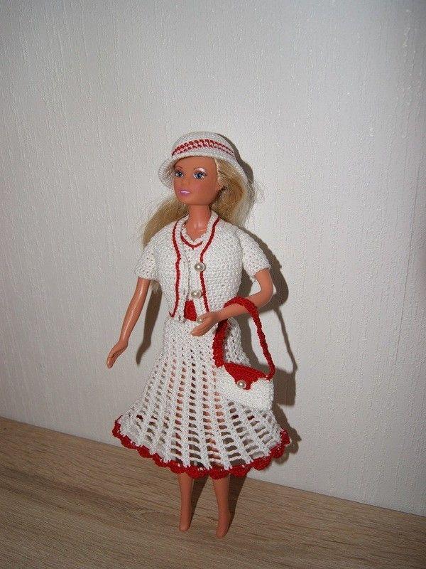 Häkelanleitung Barbie Set 5 teilig Kleid, Jacke, Hut, Gürtel, Tasche ...