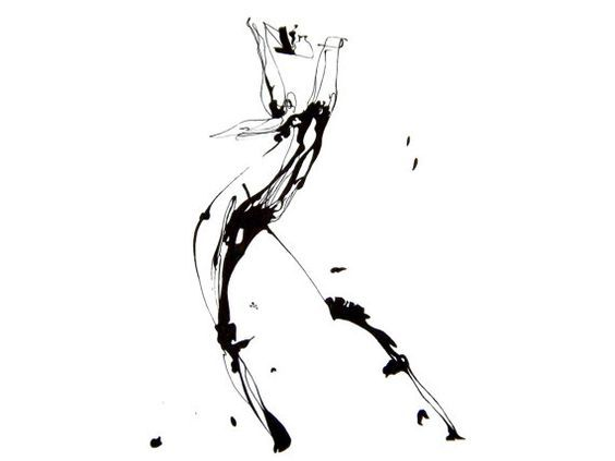 Original Abstract Human Figure Ink Drawing by JBsFineArtGallery: