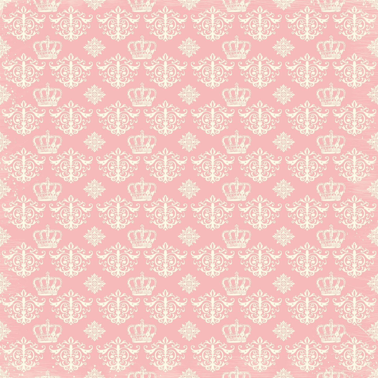 Scrapbook paper download - Cream Crowns And Damasks On Pink Background Vintage Pinkvintage Paperdigital Scrapbook