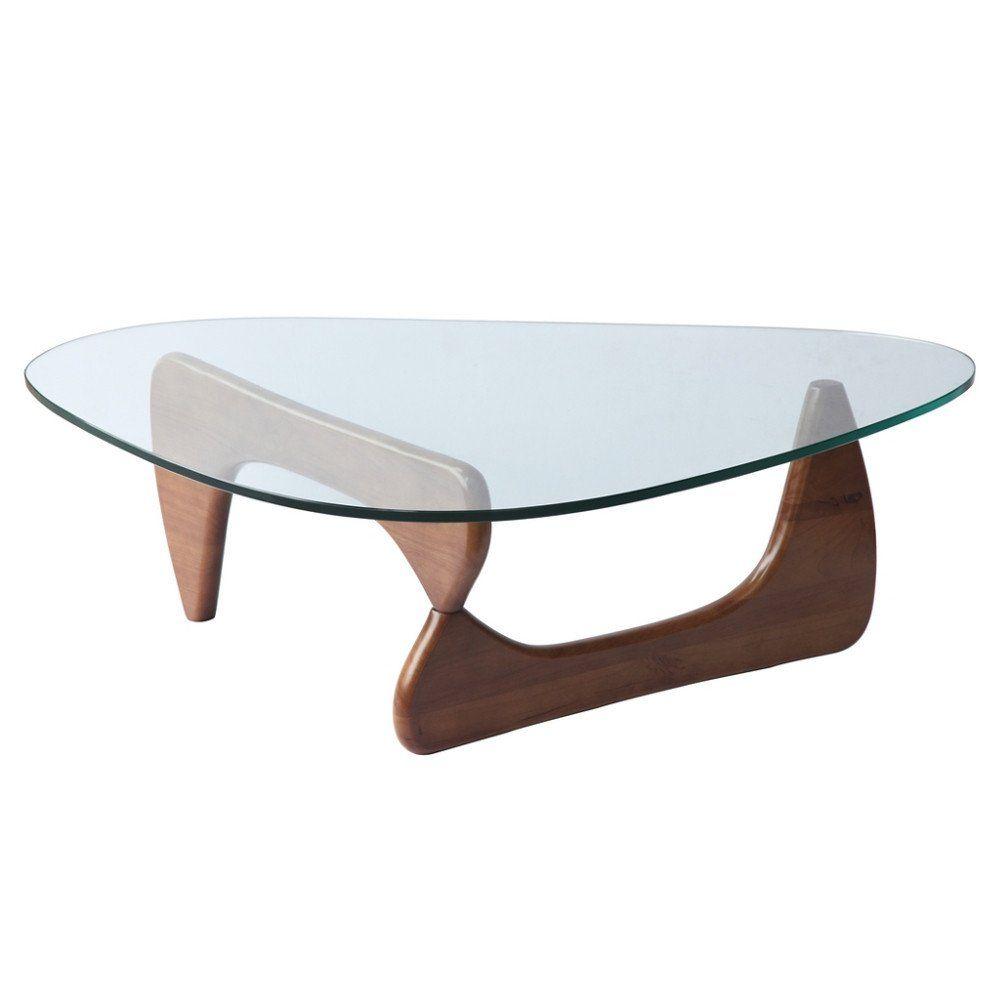 Isamu Noguchi Style Triangle Wood And Glass Coffee Table With Mid Walnut Base Walnut Coffee Table Coffee Table Glass Top Coffee Table [ 1000 x 1000 Pixel ]