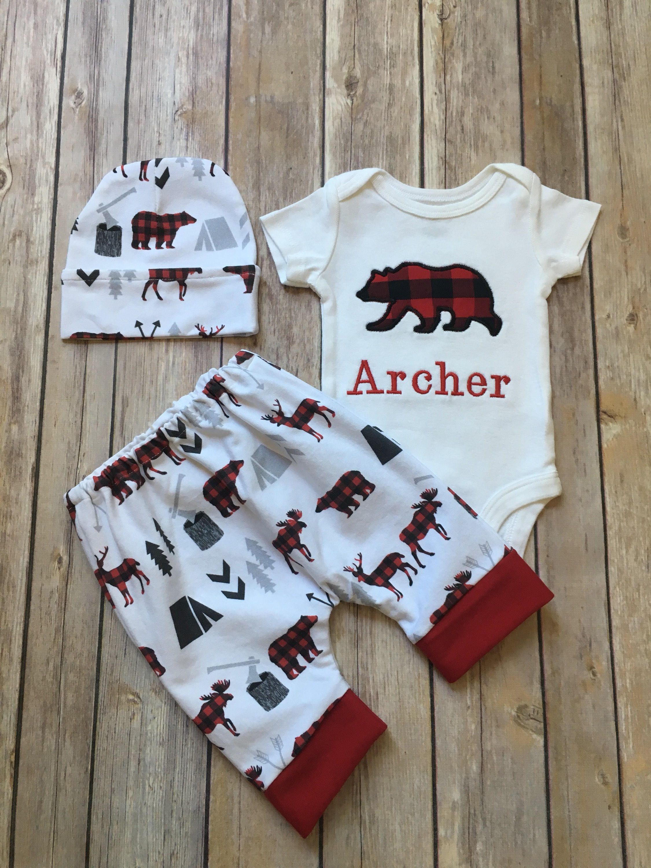 21791914f73e Baby Boy Coming Home Outfit Buffalo Plaid Red and Black Lumberjack  Personalized Bear Bodysuit Harem Leggings Pants