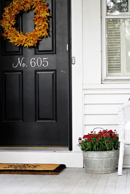 Love The House Number Painted In White On Black Front Door