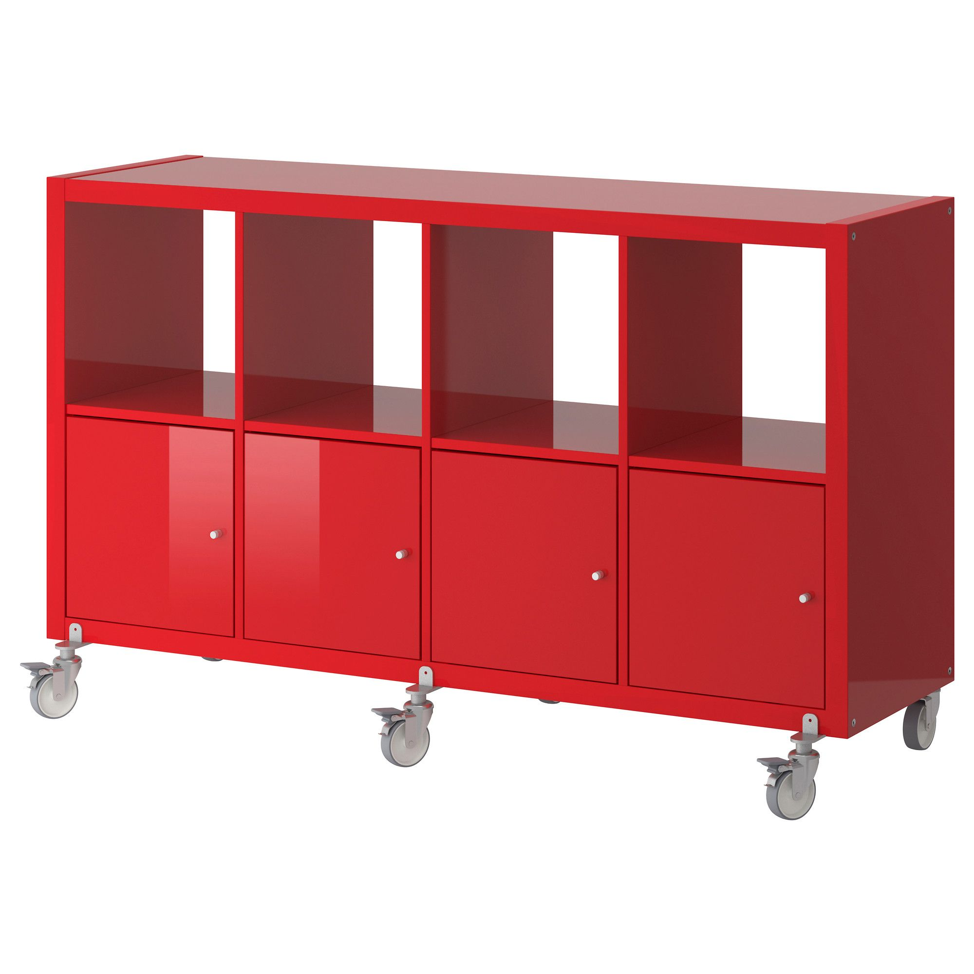 KALLAX Shelf unit on casters with 4 doors - high gloss red ...