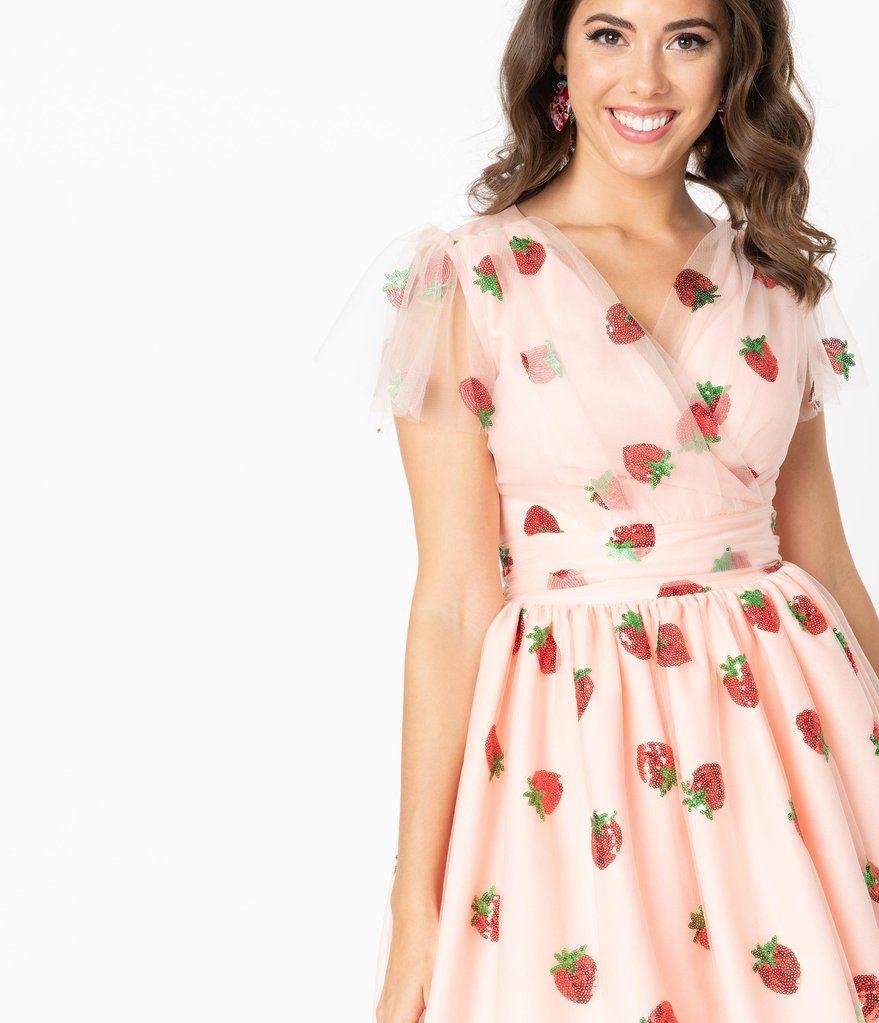 Pink Tulle Strawberry Sequin Midori Swing Dress Unique Vintage Swing Dress Dresses Unique Dresses [ 1023 x 879 Pixel ]