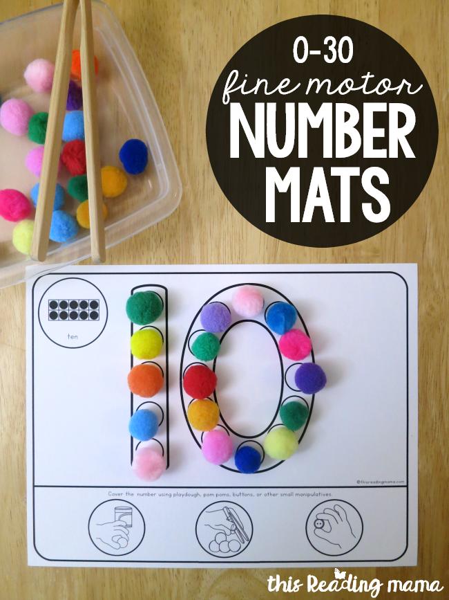 Fine Motor Number Mats 0 30 This Reading Mama Fine Motor Activities For Kids Math Activities Preschool Preschool Fine Motor