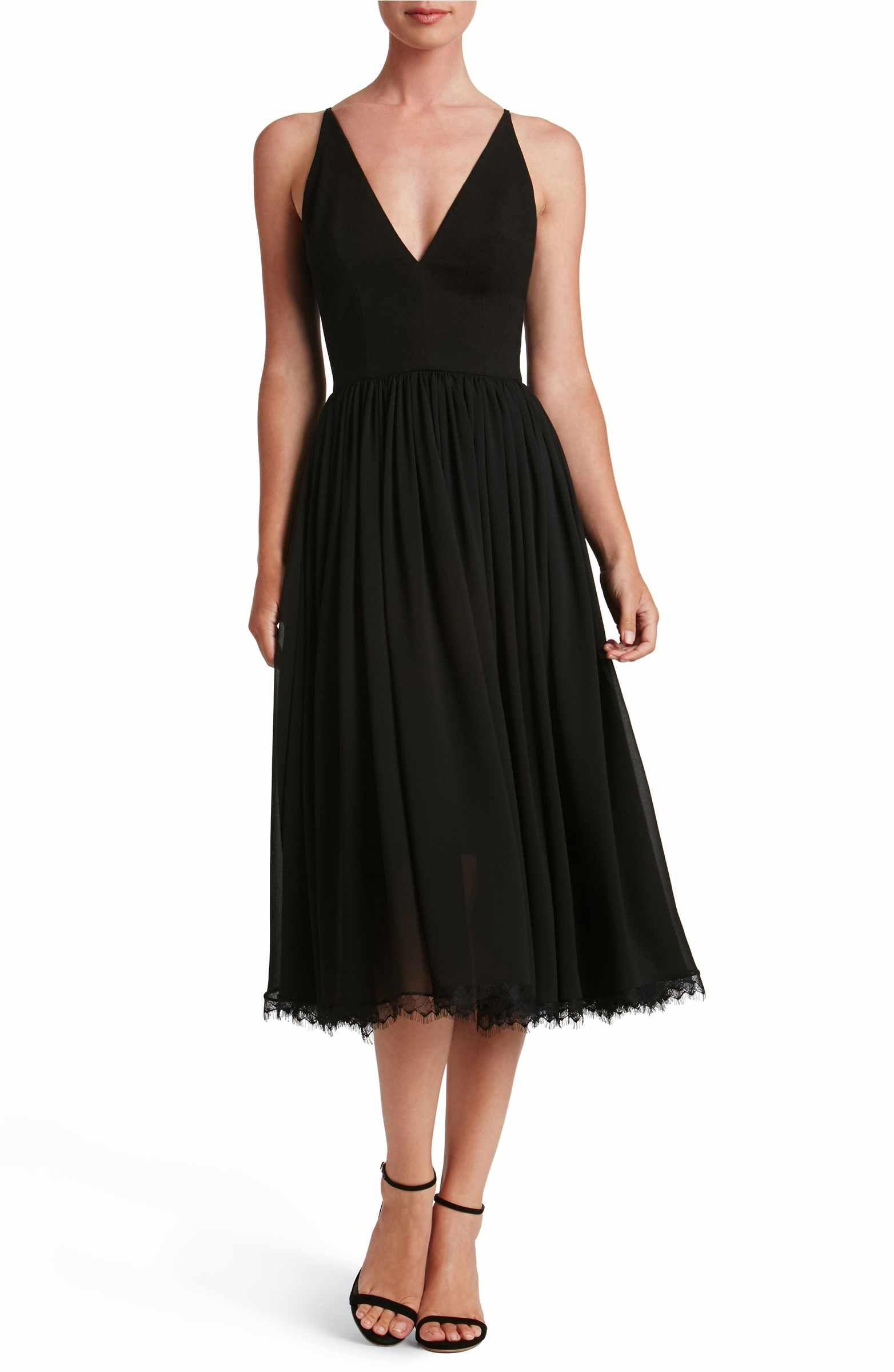 Little black dress for wedding party  Main Image  Dress the Population Alicia Mixed Media Midi Dress