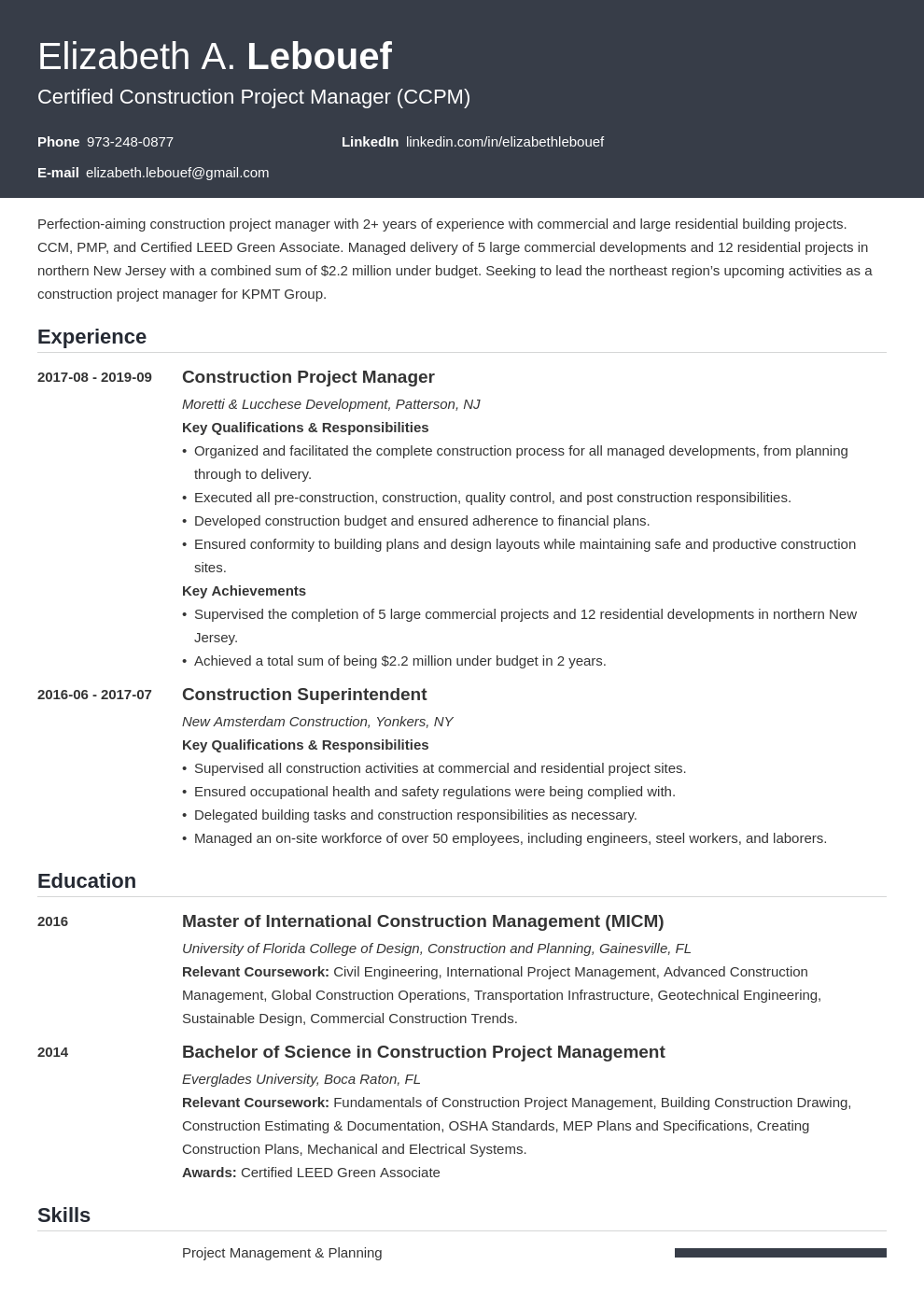 Construction Project Manager Resume Example Template Influx Project Manager Resume Manager Resume Job Resume Examples
