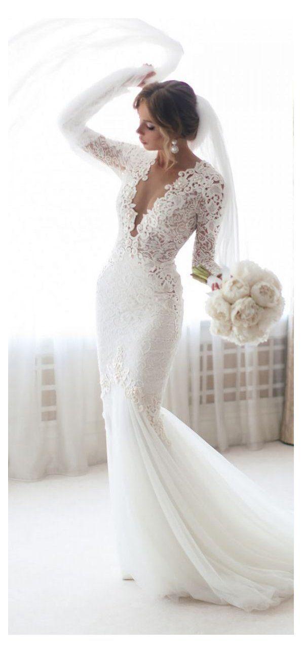 White Lace Mermaid Wedding Dress V Neck Long Sleeves Wedding Dresses Vintage Wed In 2020 Wedding Dress Long Sleeve Lace Mermaid Wedding Dress Wedding Dresses Vintage