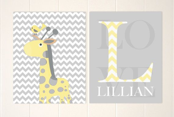 Baby girl monogram art giraffe nursery art by PicabooArtStudio