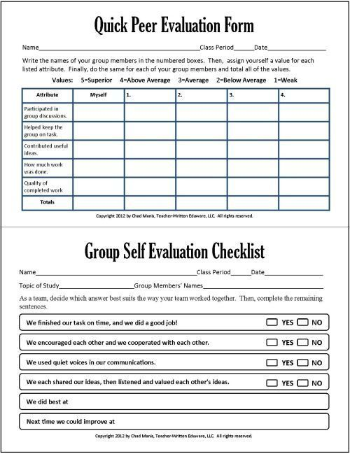 Group and peer assessment in group work -Cooperative Learning 7 - performance evaluation forms free