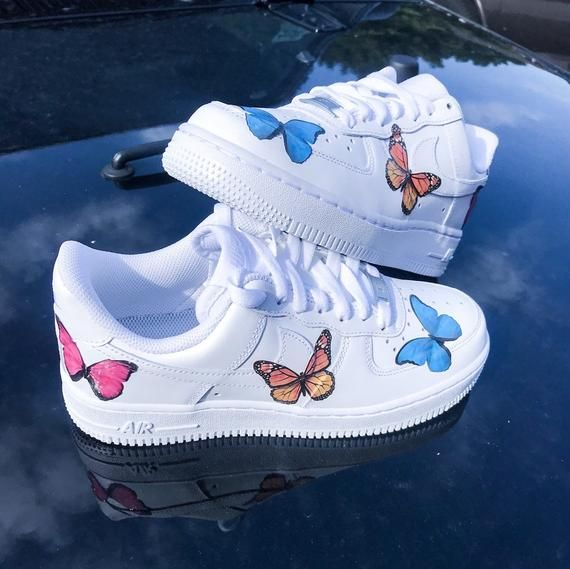 Custom Butterfly Nike Air force 1 sneaker with multicolor