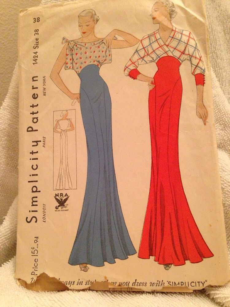 1930S Vintage Sewing Pattern Beautiful Gown 38 | Pinterest | Vintage ...