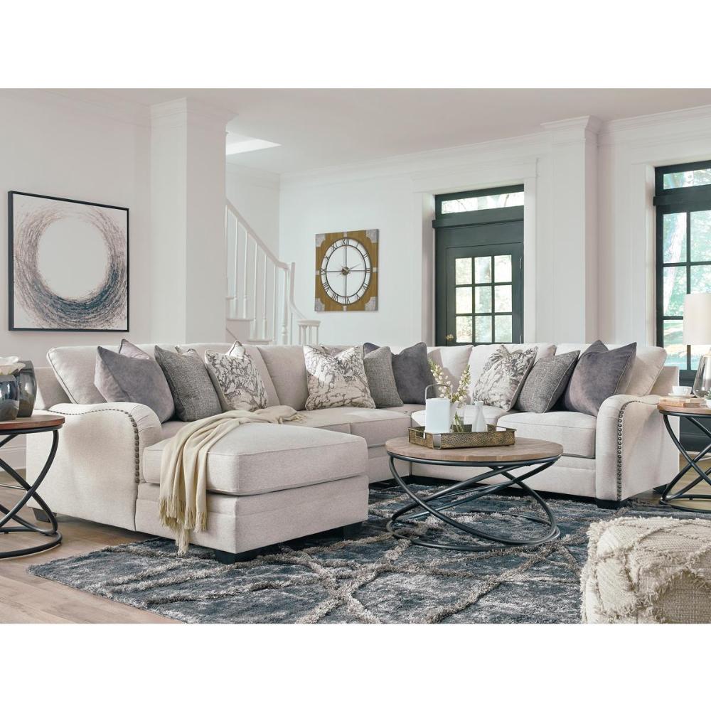 Signature Design By Ashley Dellara Left Facing 4 Piece Sectional In Chalk White Nebraska Furniture In 2020 Living Room Sectional Living Room Sets Living Room Designs #nebraska #furniture #living #room #sets