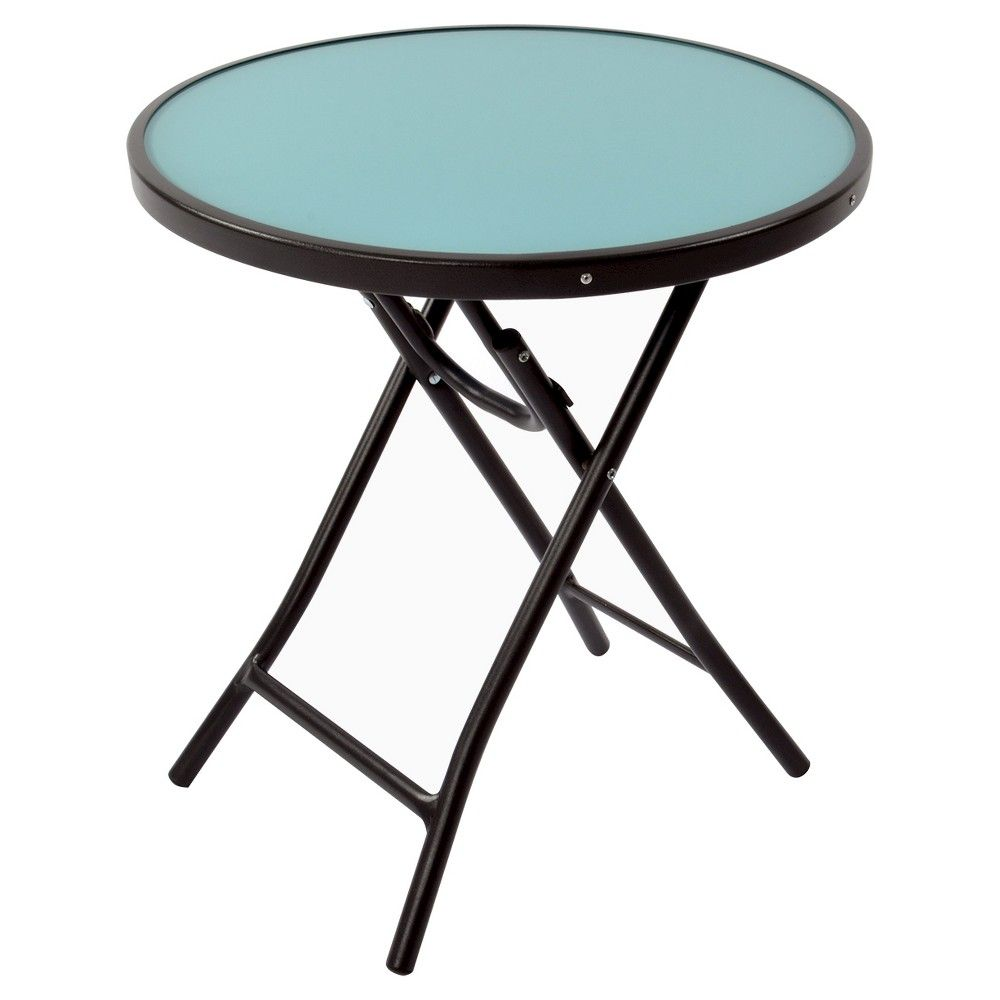 Bistro round folding accent table blue room essentials blue
