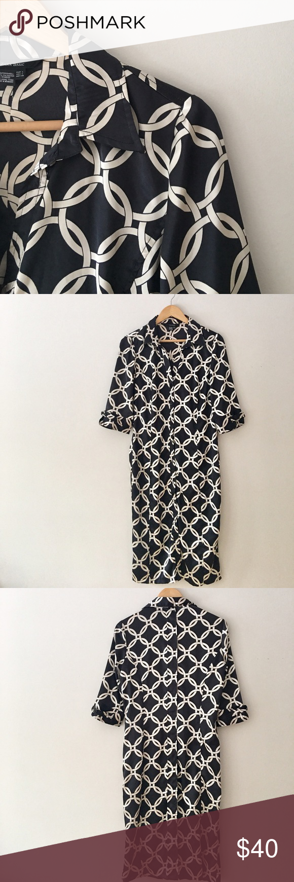 Zara Satin Shirtdress Gorgeous Zara shirt dress with a nautical theme. Photos do not do it justice. The fabric is silky with a satin sheen. Black/Ivory. Belt not included. One Sleeve has a run - pictured in photo #6 above. Size L. Great condition. Zara Dresses Midi