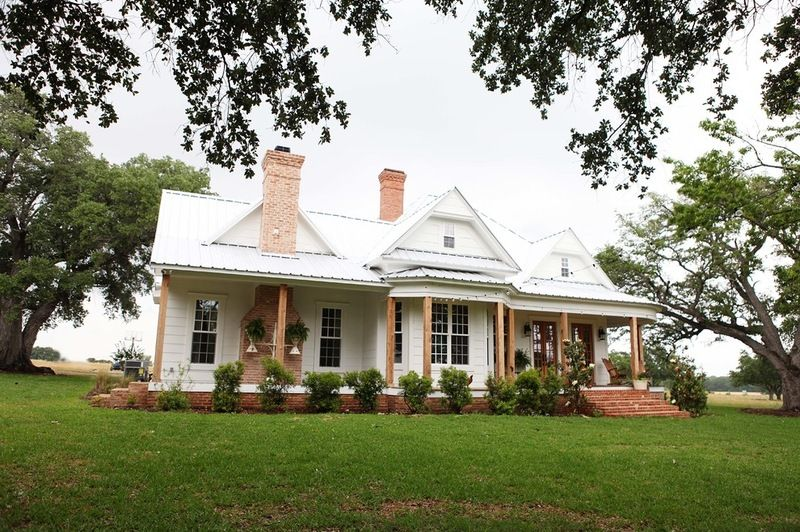 Farmhouse Exterior Brick Supporting Porch With Side Steps Paint White