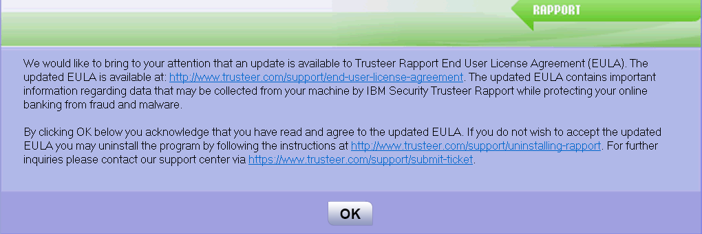 Eula Dialogue Box Rapport  Trusteer    Ibm And Knowledge
