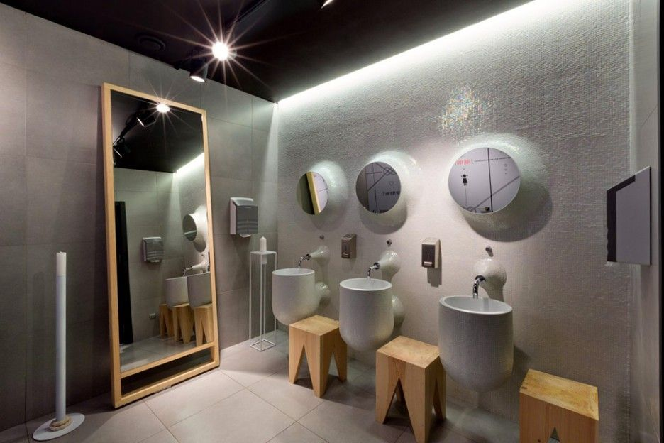 Fabulous Restaurant Interior Design With Unique Decorations Incredible Bathroom Modern Contemporary Style In