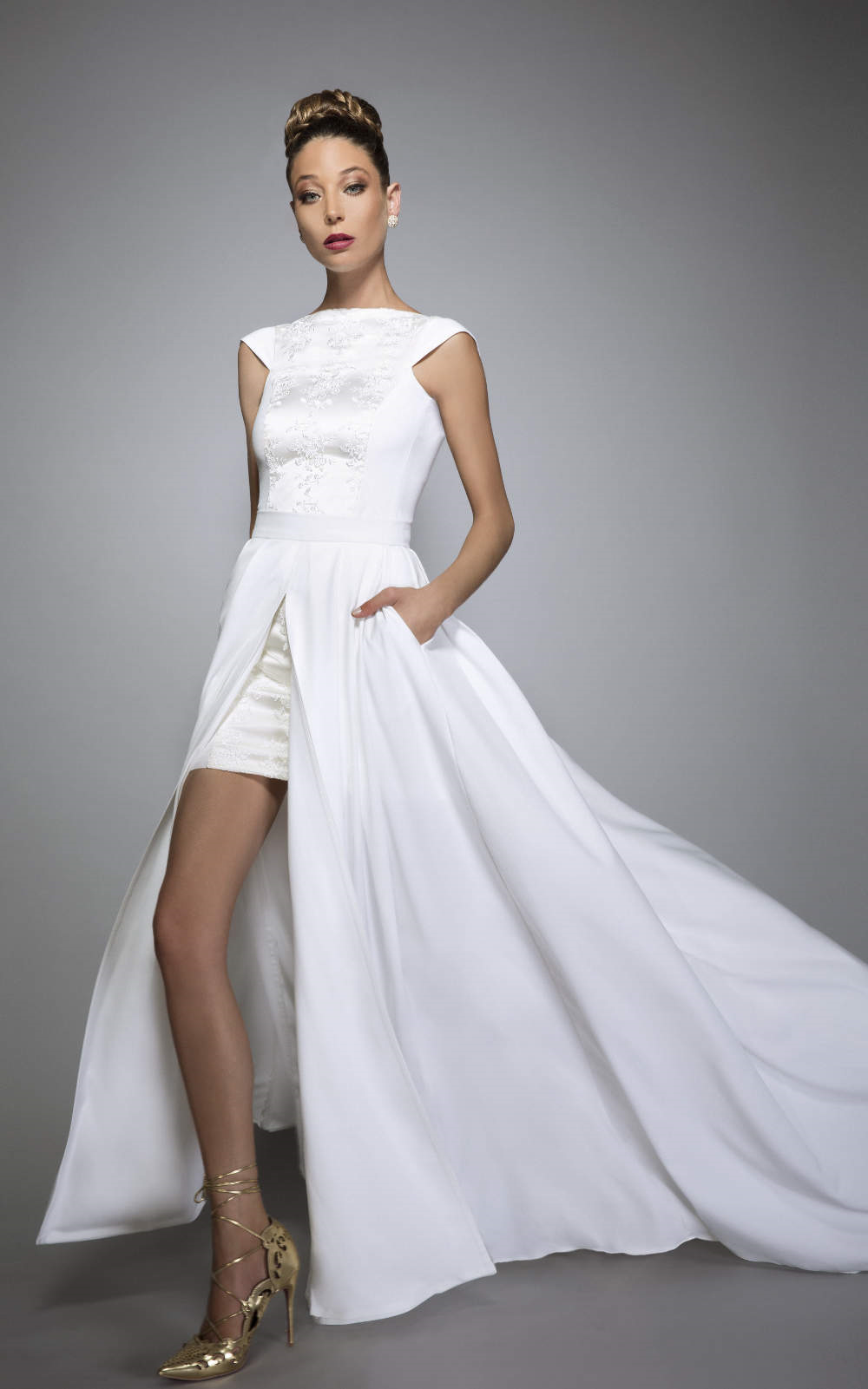 Veruschka fabulous convertible wedding dress with pockets and veruschka convertible wedding dress with pockets and train bare back bridal separates 2 in 1 urban chic non traditional ombrellifo Image collections