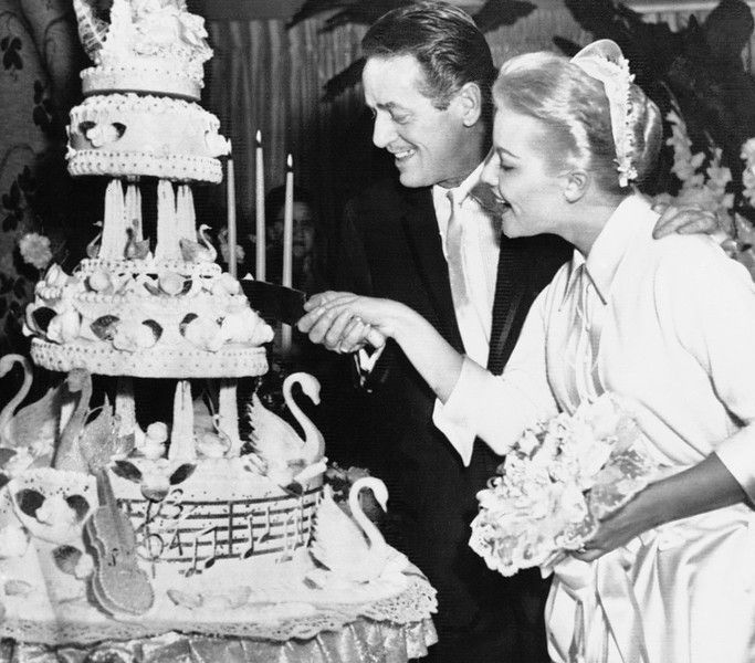 29 Wedding Cakes With Vintage Vibes: (1956) Featuring Newlyweds Cut Cake- In Las Vegas, Nev