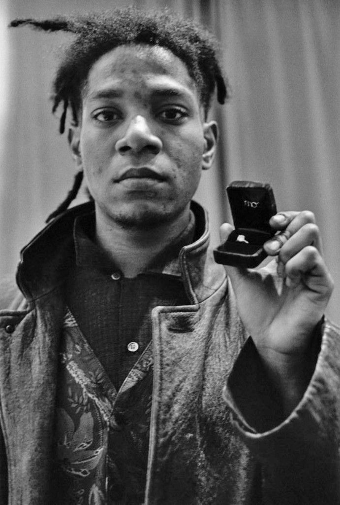 Jean-Michel Basquiat Holding Engagement Ring, New York, NY Photographed by Allen Ginsberg December 20, 1987.