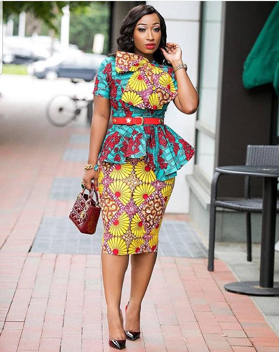 cfe2b27895dc34 Ankara peplum blouse/ Ankara Skirt and blouse/ Ankara pencil skirt/ Ankara  Blouse/ Ankara Fashion/ M