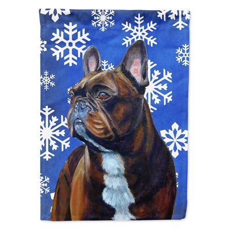 French Bulldog Winter Snowflakes Holiday Garden Flag Multicolor