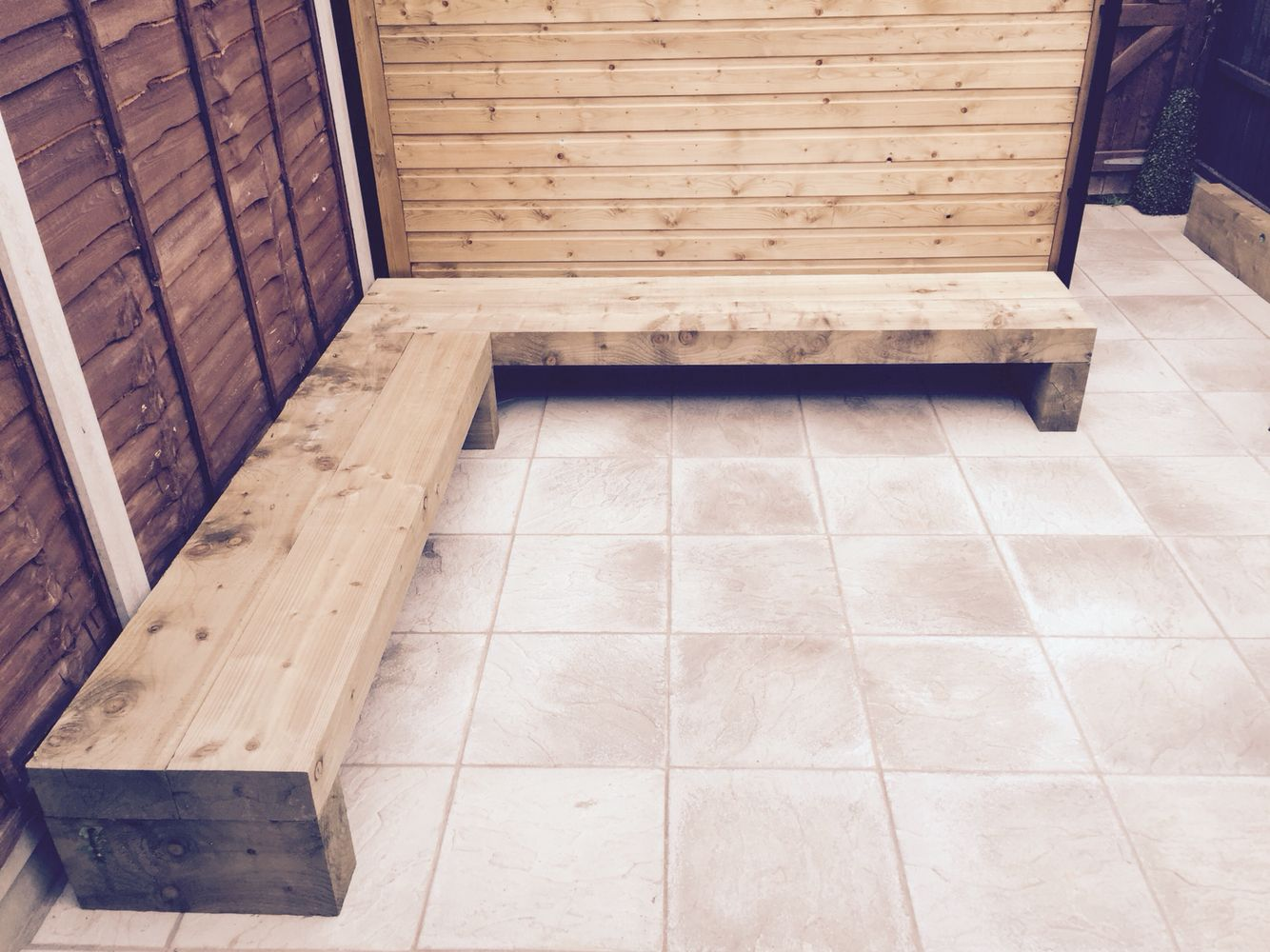 Railway Sleeper Corner Bench Ideas For Garden Design