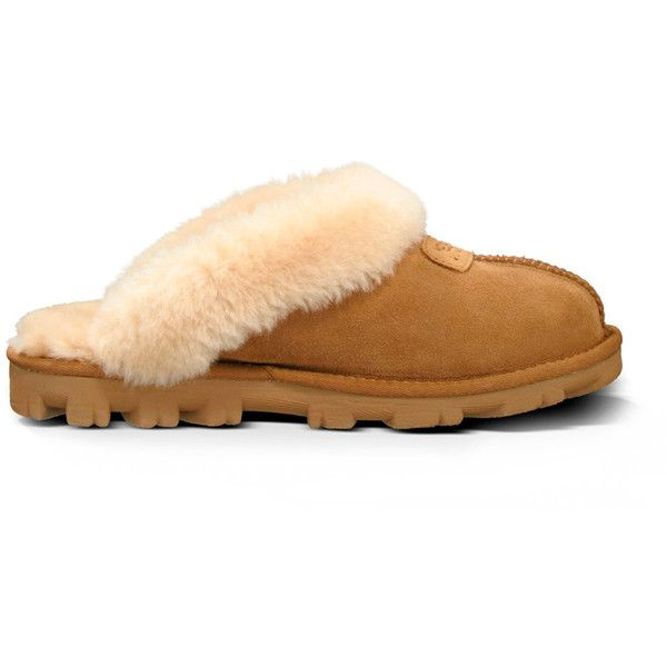 Ugg ® Coquette Shearling Lined Slipper ($120) ❤ liked on Polyvore featuring shoes, slippers and chestnut