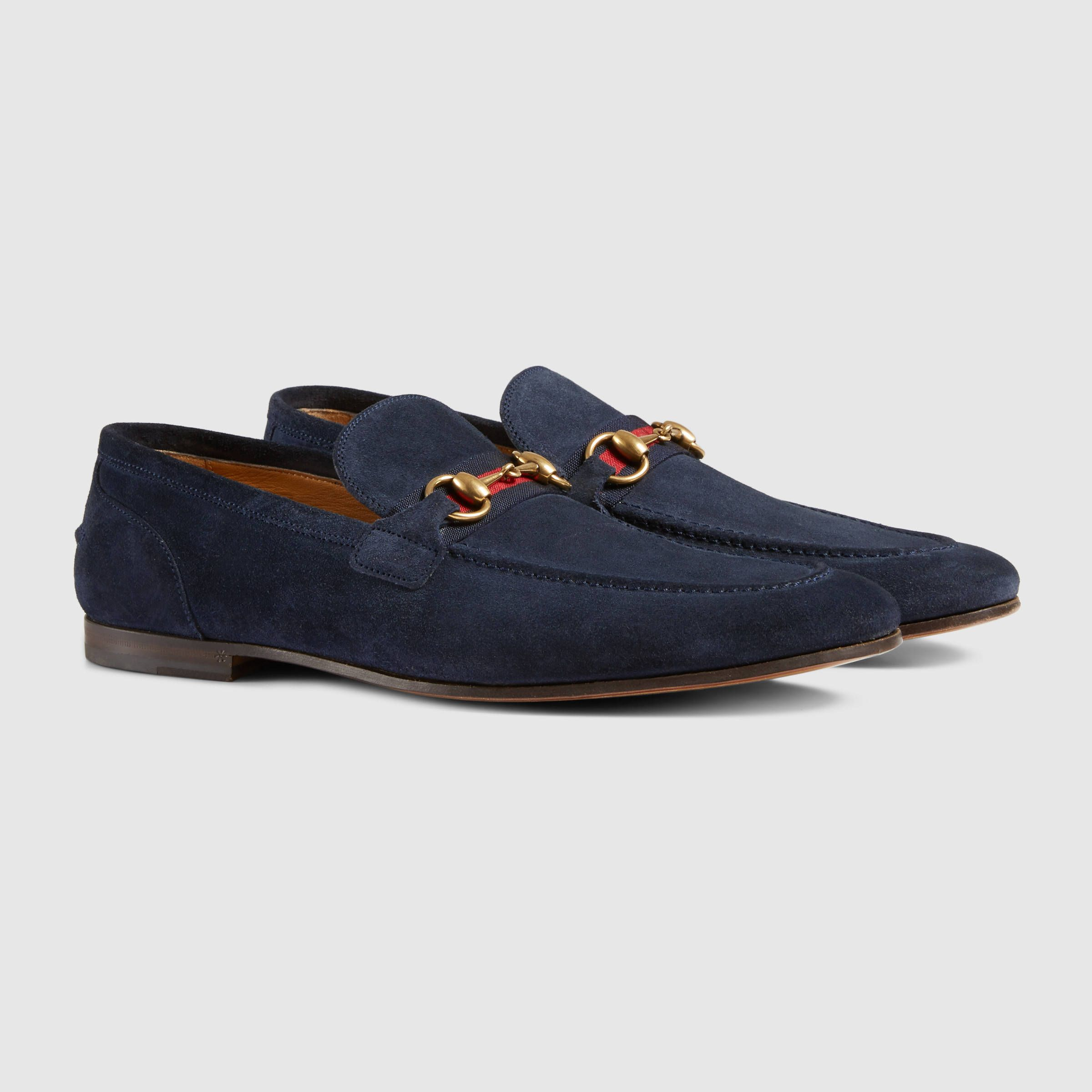 8d3693c2258 Shop the Horsebit suede loafer with Web by Gucci. Suede loafer designed  with an elongated toe